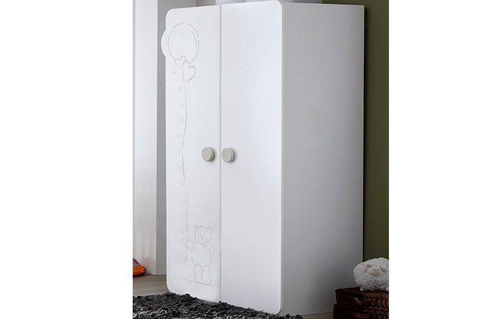 Armario blanco infantil con 2 puertas y detalle oso | Dormitorios y ...