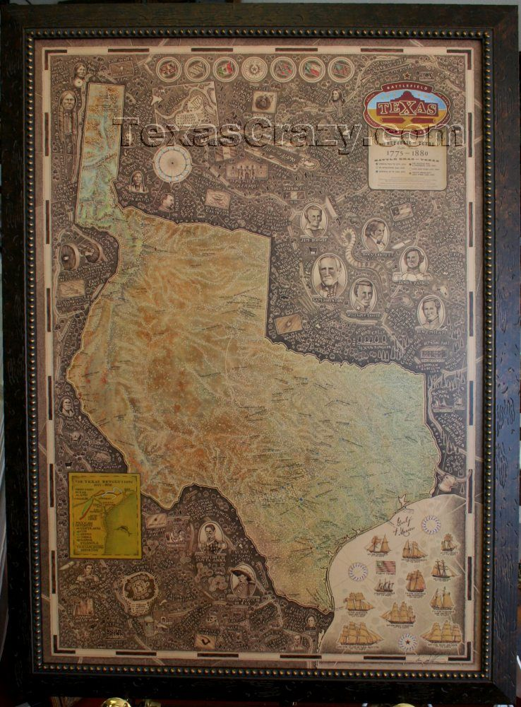 Framed Texas Map : framed, texas, Texas, Battle, Framed, Unique, Gifts, Office, Decor, Maps,, Western
