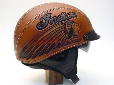 Motorcycle Helmet Hand Tooled Leather Indian Motorcycle Helmet