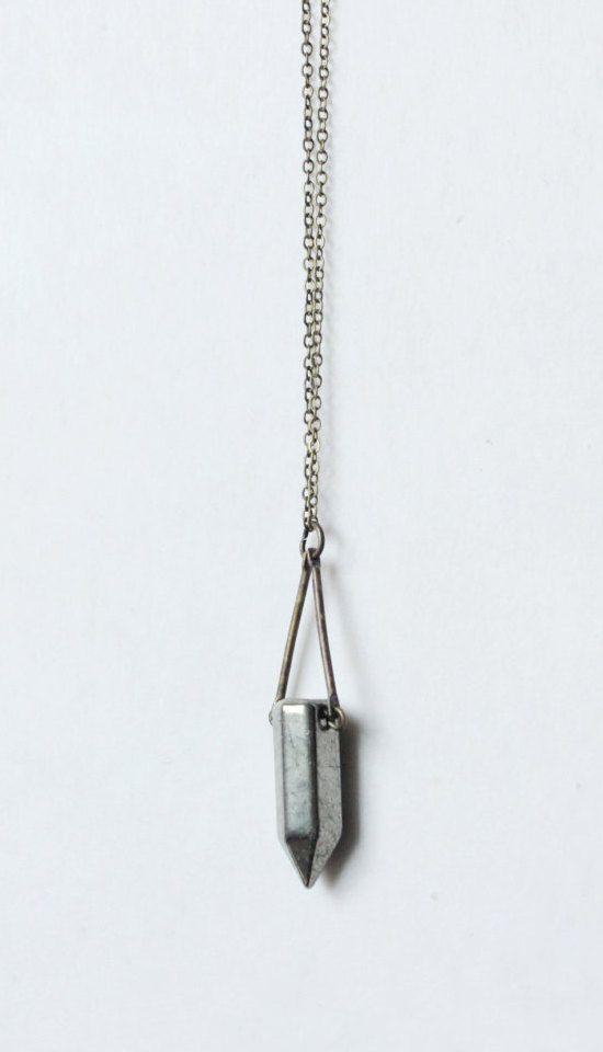 Pyrite NecklacePyrite jewelryspike necklacespike pendantbrass
