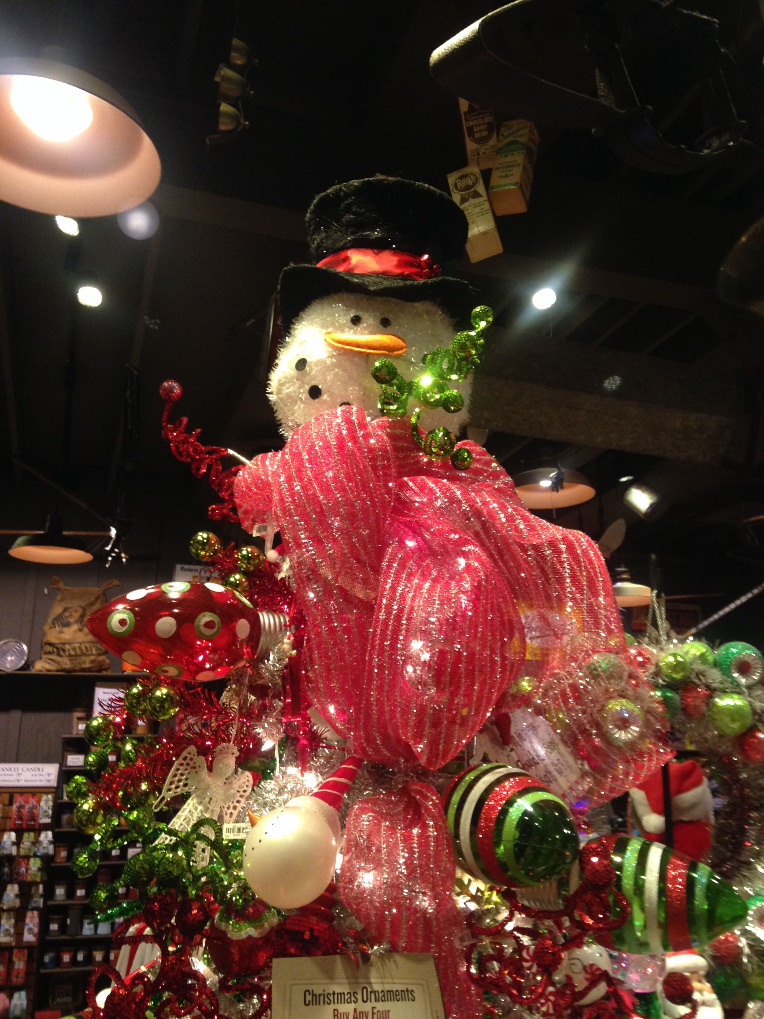 Snowman Christmas Tree Topper Www Topsimages Com Snowman Christmas Tree Topper Cracker Barrel