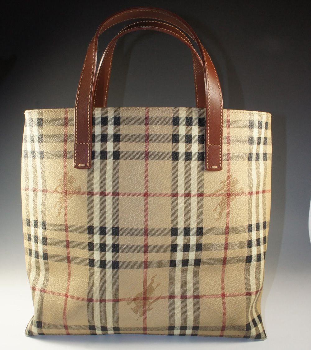 99f1b8c225af Vintage Burberry Monogram Canvas Leather Tote with Dust Bag ...