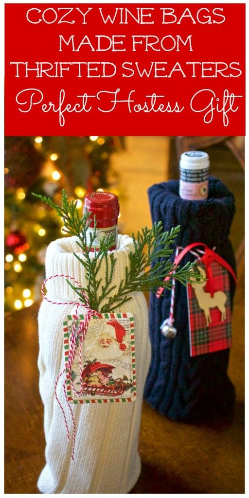 DIY Sweater Wine Bags - 2 Bees in a Pod
