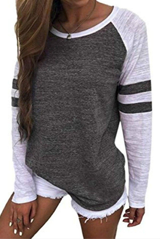 e4d6f33c5cd Women's Long Raglan Sleeve Colorblock Striped Tops Baseball Tee Shirt -  Grey - C9180R5X5DW,Women's Clothing, Tops & Tees, Knits & Tees #women  #fashion ...