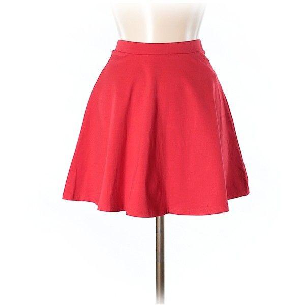 Forever 21 Casual Skirt ($11) ❤ liked on Polyvore featuring skirts, red, cotton skirts, red cotton skirt, forever 21 skirts, red knee length skirt and cotton knee length skirt