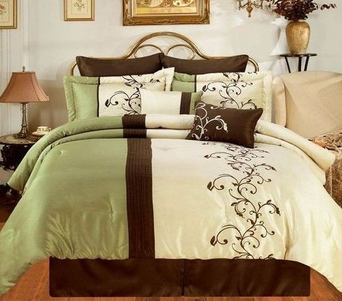 8 Piece Anb Sage Green Chocolate Brown Luxury Bedding Set Queen