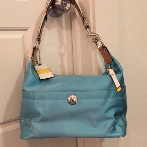 a7912b0ac6e Rare Coach handbag Blue and white leather Coach nautical handbag. Coach Bags  Shoulder Bags