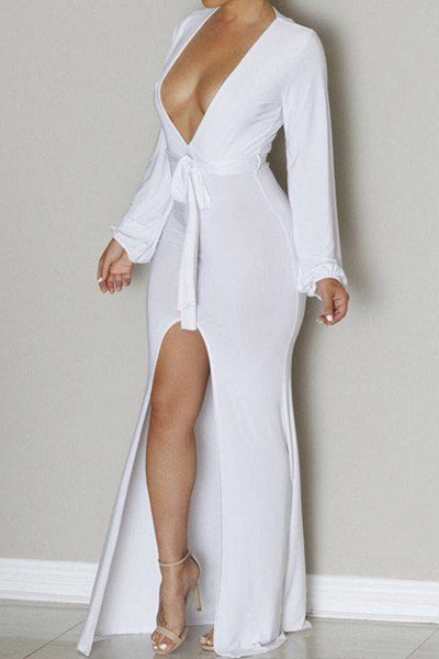 Sexy Plunging Neck Long Sleeve Asymmetrical Solid Color Dress For Women