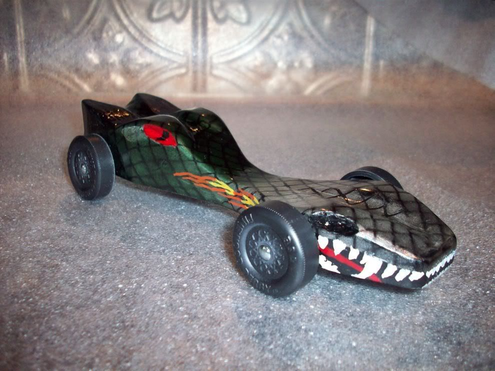 Dragon pinewood derby car dragon car boy scouts for Boy scout derby car templates