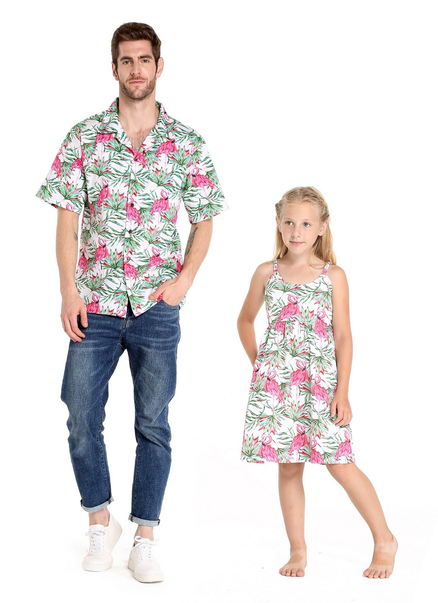 ff83c019 Christmas in Hawaii Santa Collection Couple Matching Outfit. Couple Matching  Men Aloha Shirt and Girls' Dress in Flamingo in Love