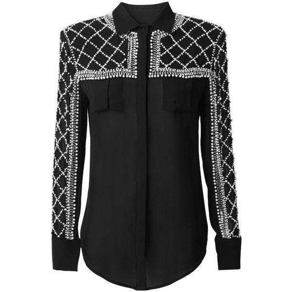 623361969 Pre-owned Balmain X H&m Black Beaded Silk Blouse Button Down Shirt ($322) ❤  liked on Polyvore featuring tops, blouses, black, black silk shirt, long  black ...