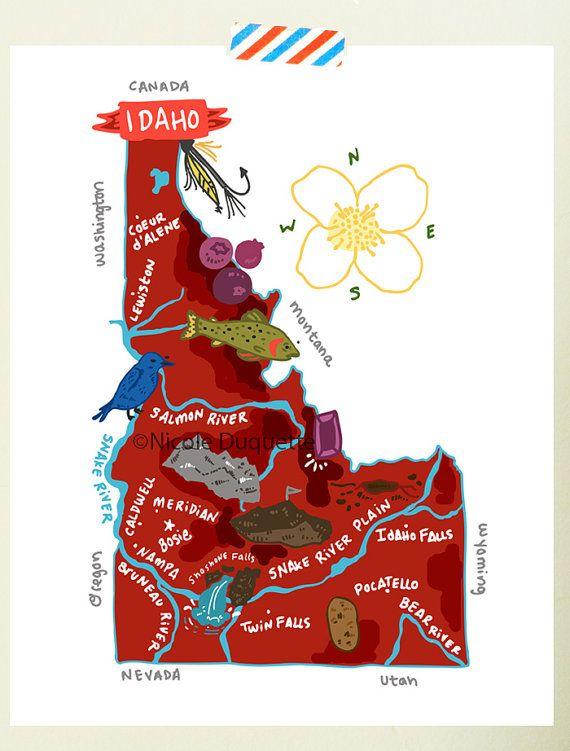 Idaho Illustrated 8 X10 Map In 2019 Wall Mccall Idaho Idaho