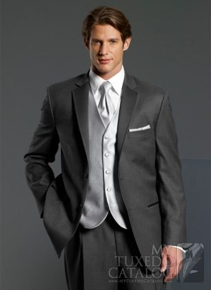 Charcoal Gray suit, white shirt, silver tie, maybe silver vest ...