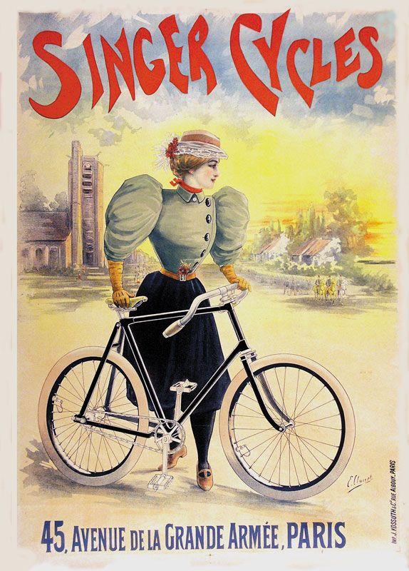 Singer Cycles Emile Clouet Werbeplakat Plakat Armee