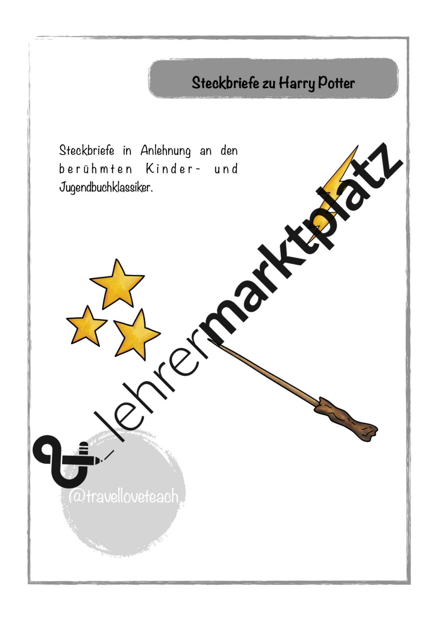Steckbriefe Harry Potter Unterrichtsmaterial Im Fach Deutsch Harry Potter Steckbrief Steckbrief Harry Potter