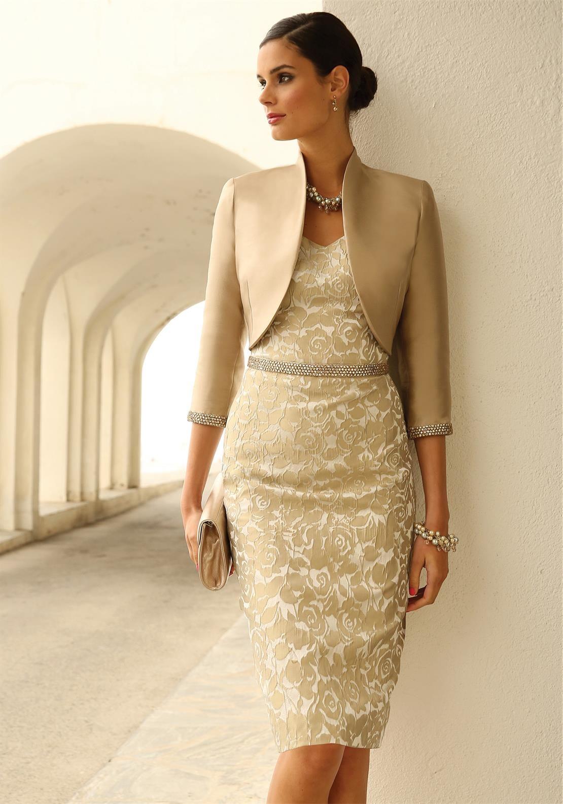 linea raffaelli gold floral dress and bolero | vestidos con