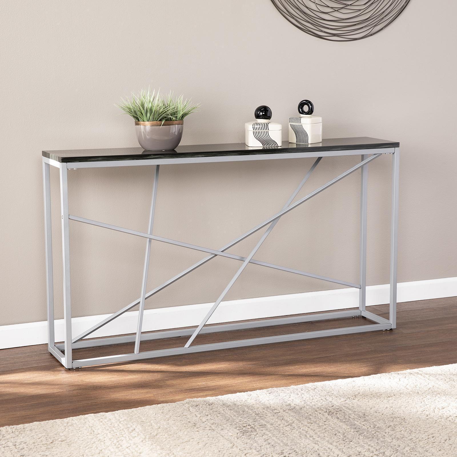 Studio 76 Arendal Faux Stone Console Table Silver In 2020 Skinny Console Table Console Table Dining Room Console [ 1600 x 1600 Pixel ]