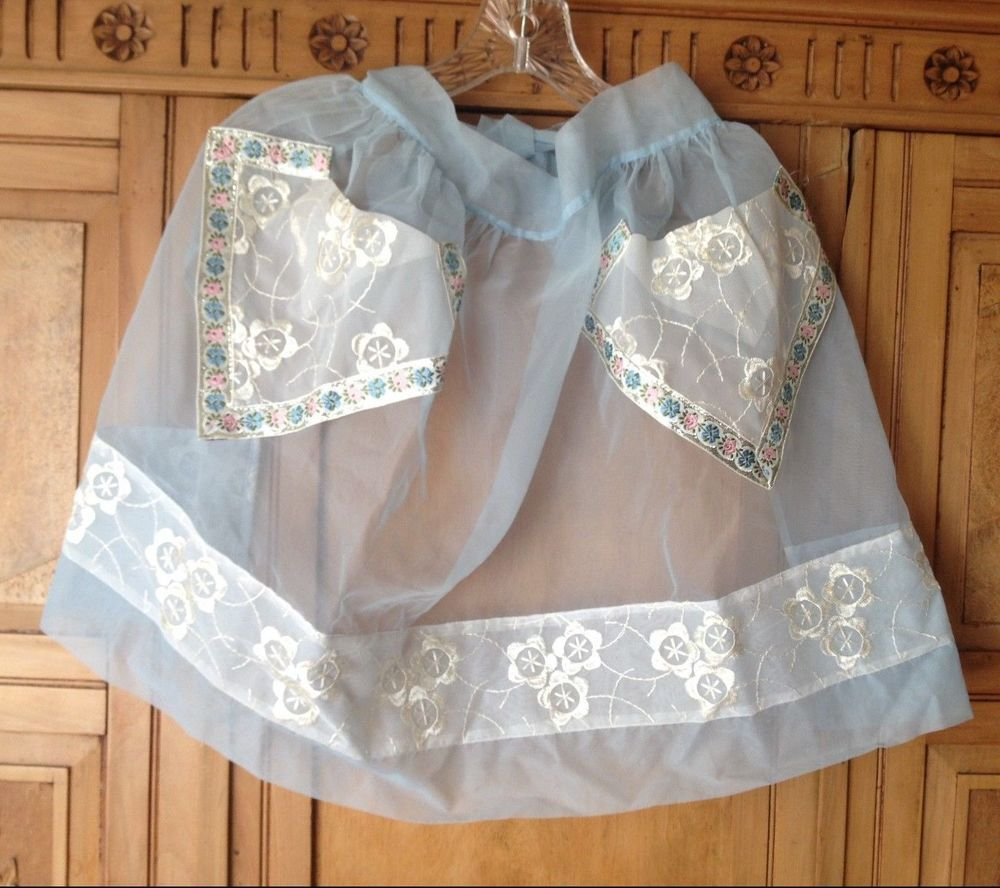 White lace apron ebay - Vintage 50 S Beco S Originals Organdy See Thru Apron With 2 Pockets Adult