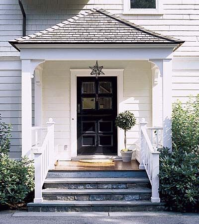 Used This As The Model For My Side Entry Love The Moravian Pendant Flared Hip Roof Bluestone Steps Curved Brace House With Porch House Exterior Porch Steps