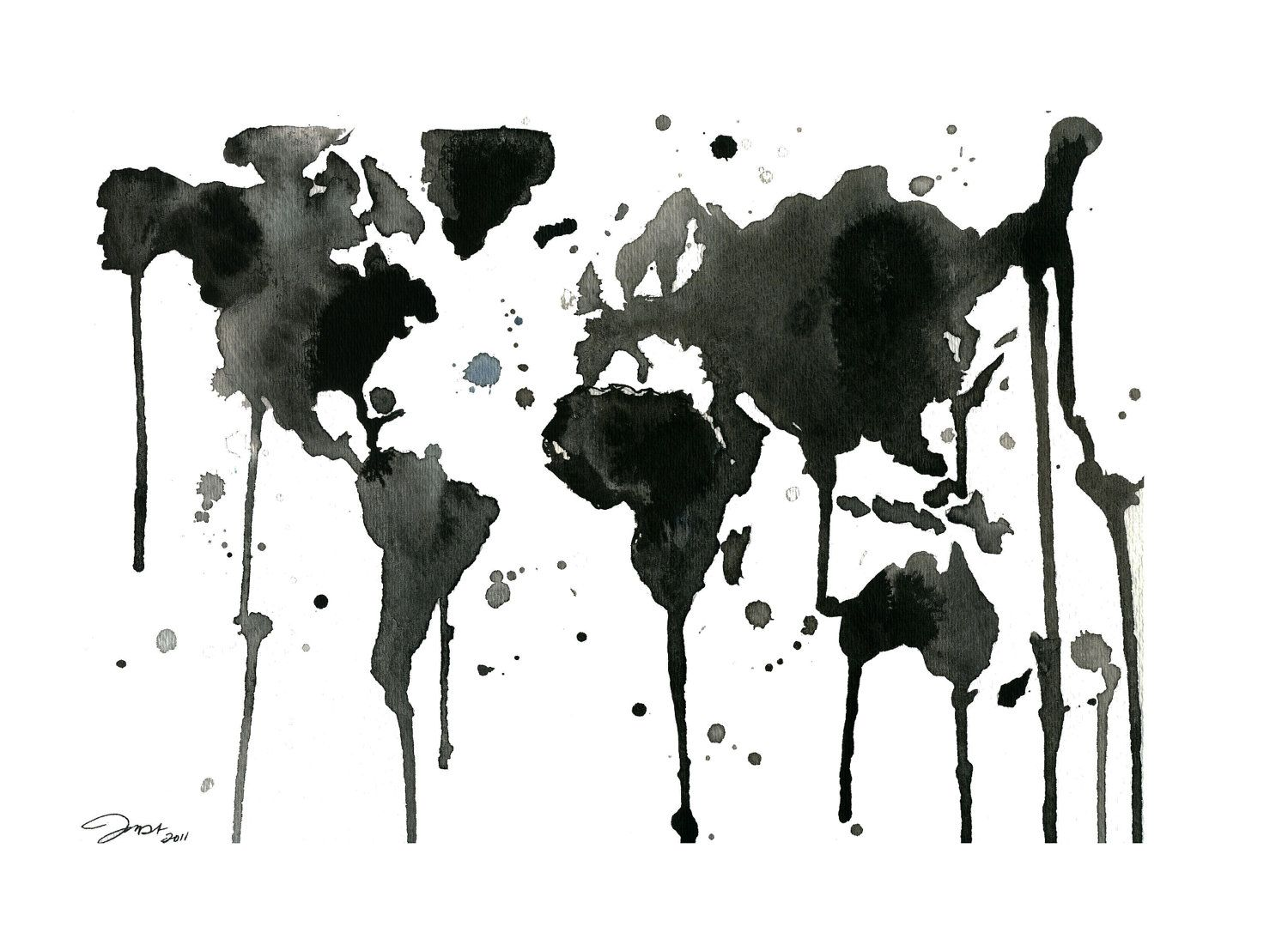 World Map Black And White Tumblr. It s a Black and White World Watercolor Map by JessicaIllustration black white world  Randomness Pinterest map