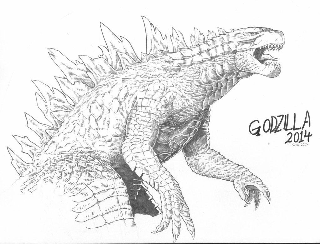 Pencil Sketch Of Godzilla Front View Black And White