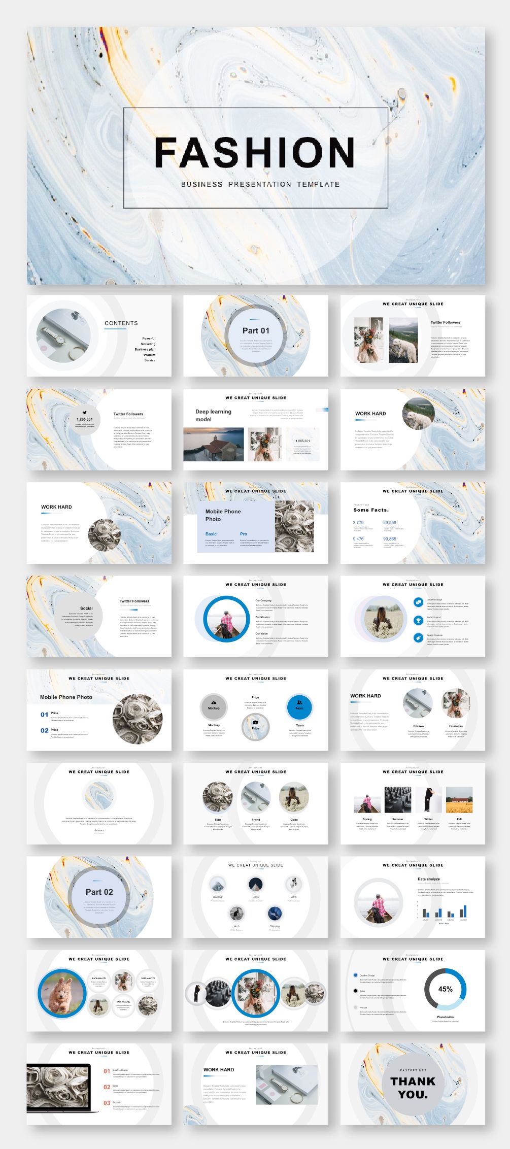 Blue & Gray Business Report PowerPoint Template