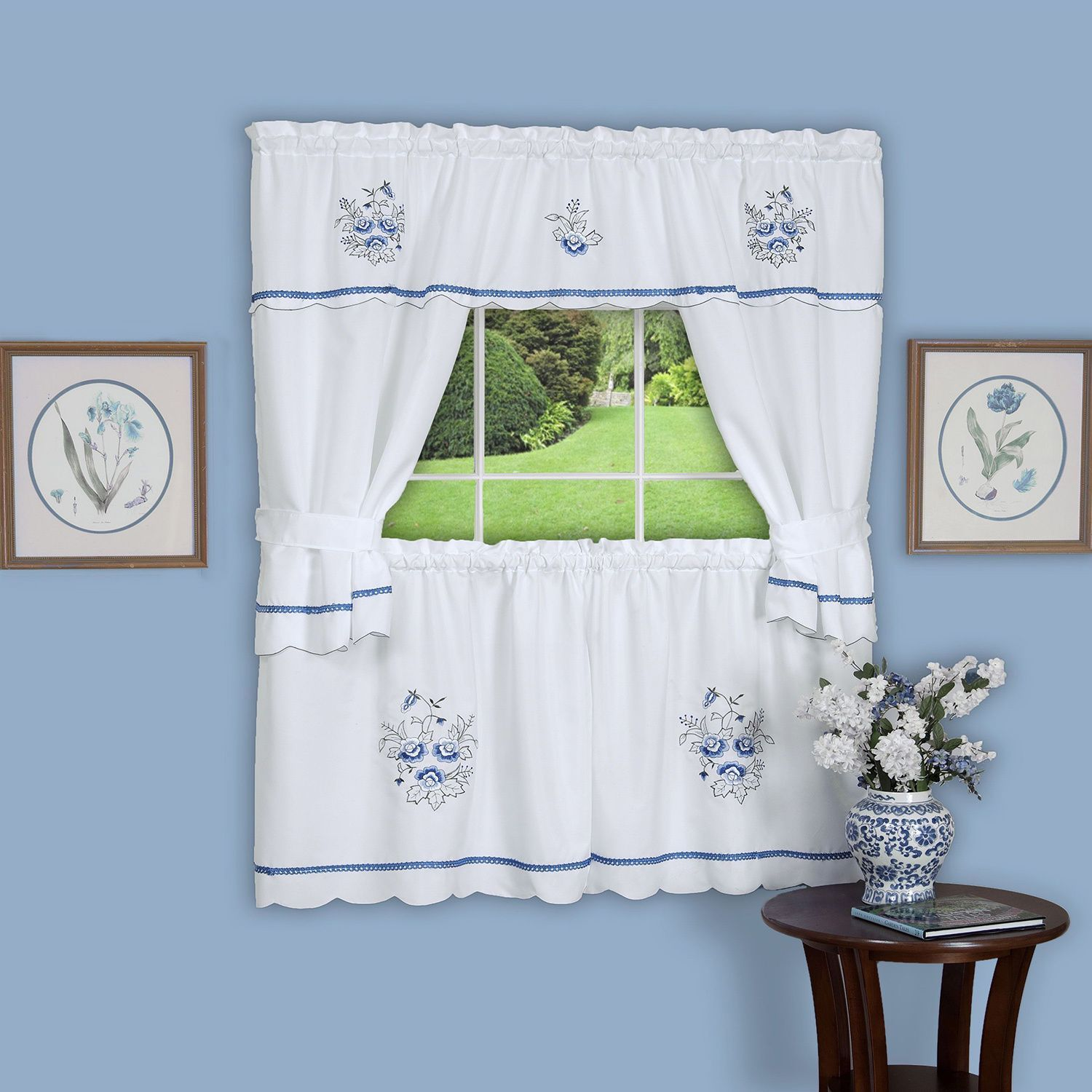 Achim Delft Blue Embellished Cottage Curtain Set 58 X 24 Tiers 36 Topper 100 Polyester Floral