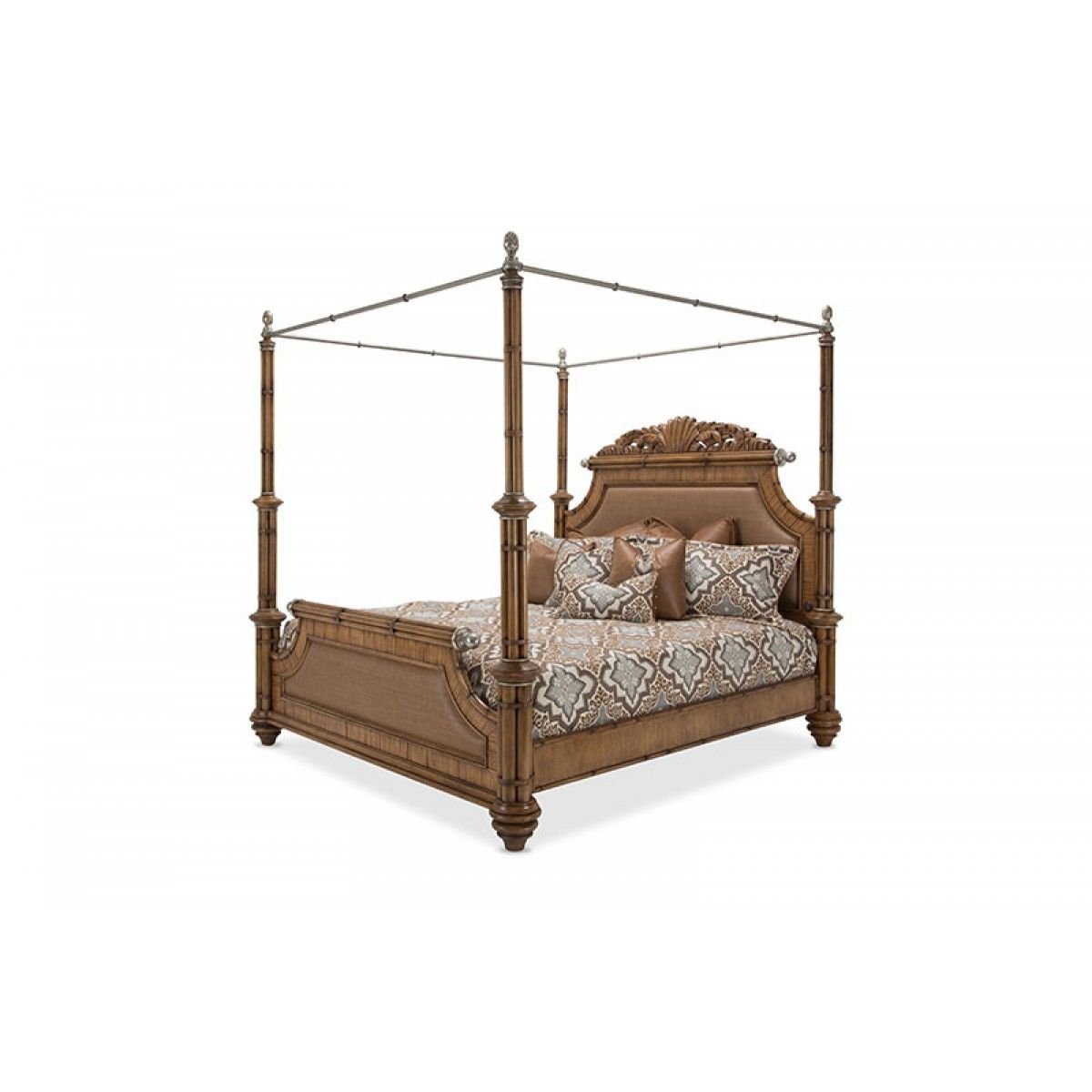 Aico Excursions Eastern King Poster Bed W Canopy Kit 5 Pc