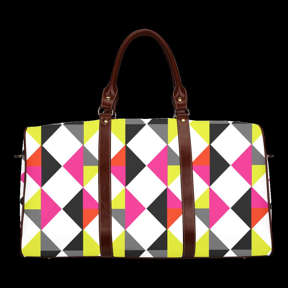 Funky Popping Geometric Bright Color Block Pettern Waterproof Travel Bag/Small (Model 1639)