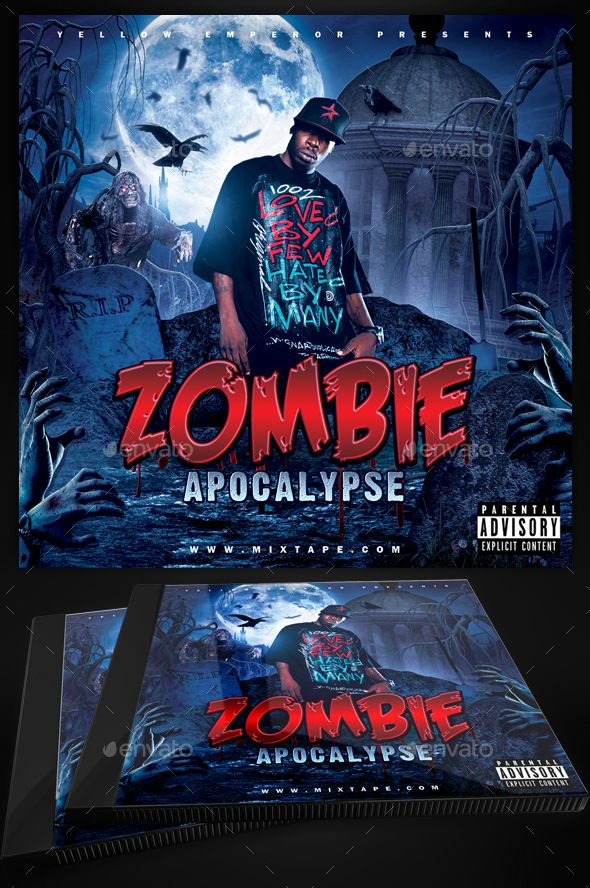 Zombie Apocalypse Mixtape Cover Template Mixtape, Yellow emperor - zombie flyer template