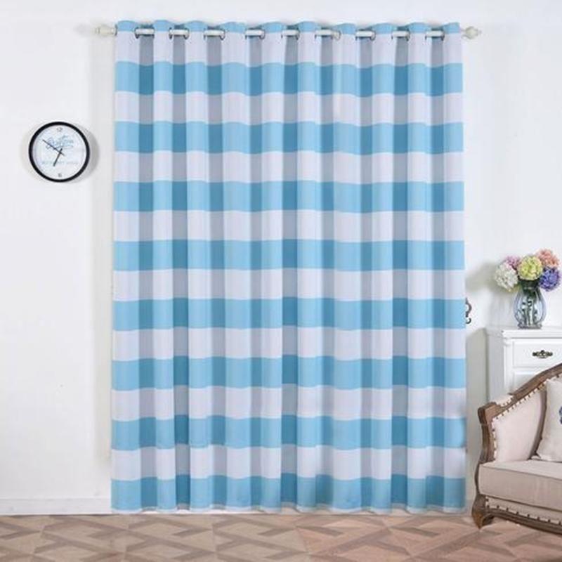 Cabana Stripe Curtains 2 Packs White Baby Blue Blackout