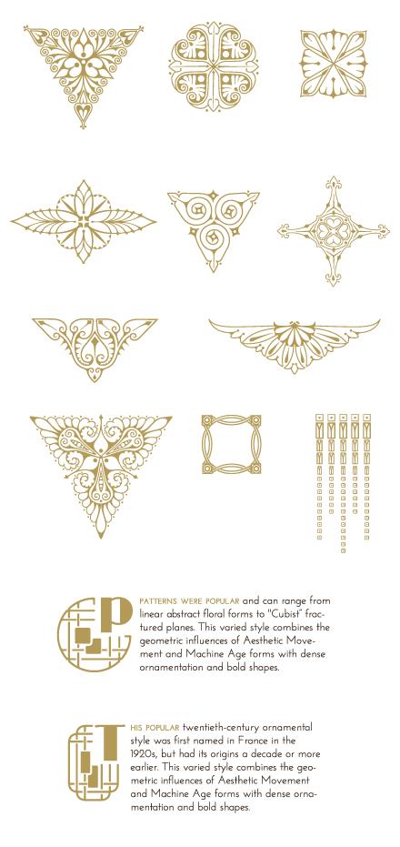 Art Deco Illustrations And Decorative Ornaments Download 90 Vector Graphics Art Deco Tattoo Art Nouveau Design Art Deco Illustration