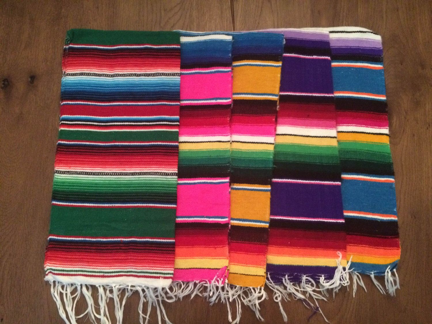 Decorative Hand Woven Mexican Serape Saltillo Blanket Table Runner 20 X 40 By