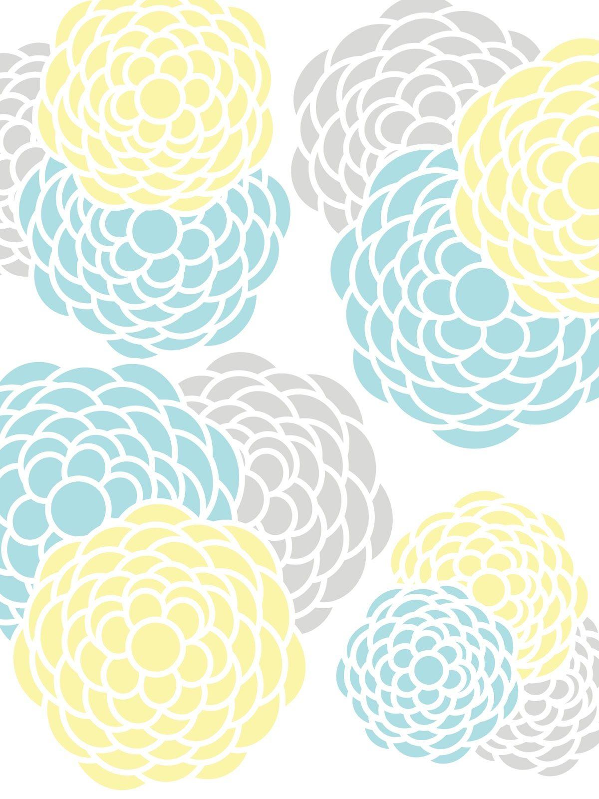 gray, yellow, teal Kitchens Floral Print...Aqua, Pink