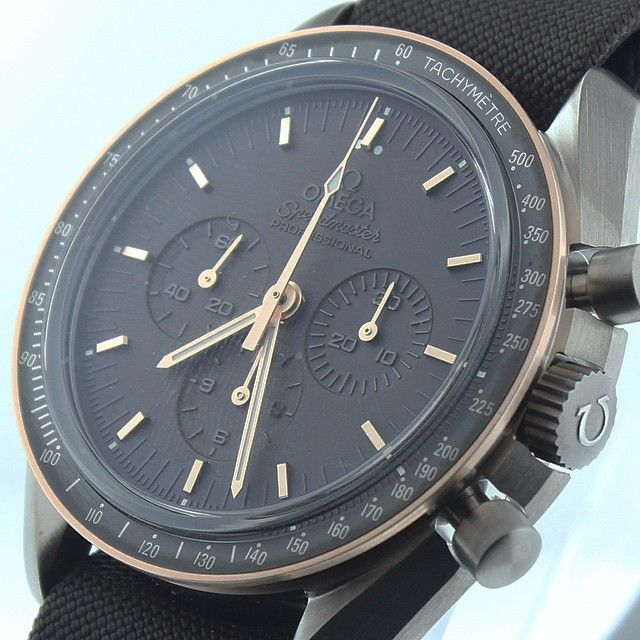 """""""Limited to 1969 pieces, the Speedmaster Apollo XI 45th Anniversary feature a black PVD dial fading to matte brown, beautified by Sedna gold details as…"""""""