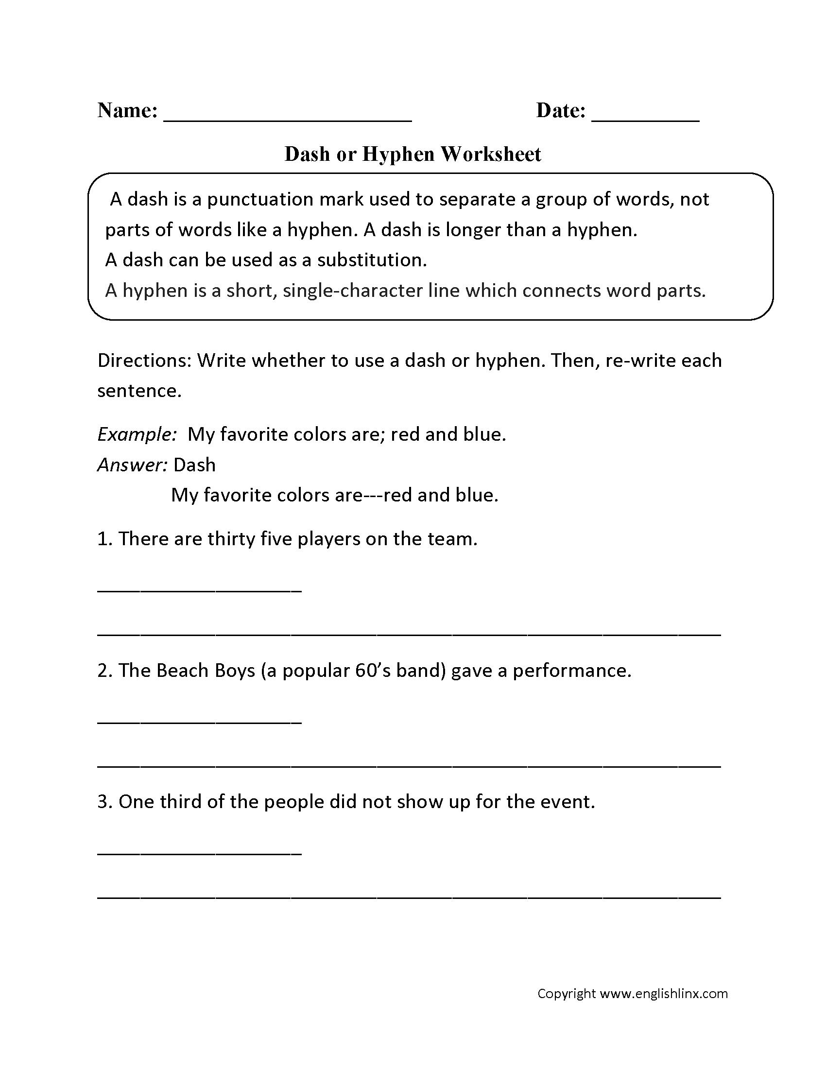 Punctuation Worksheets   Dash Worksheets   Punctuation worksheets [ 2200 x 1700 Pixel ]