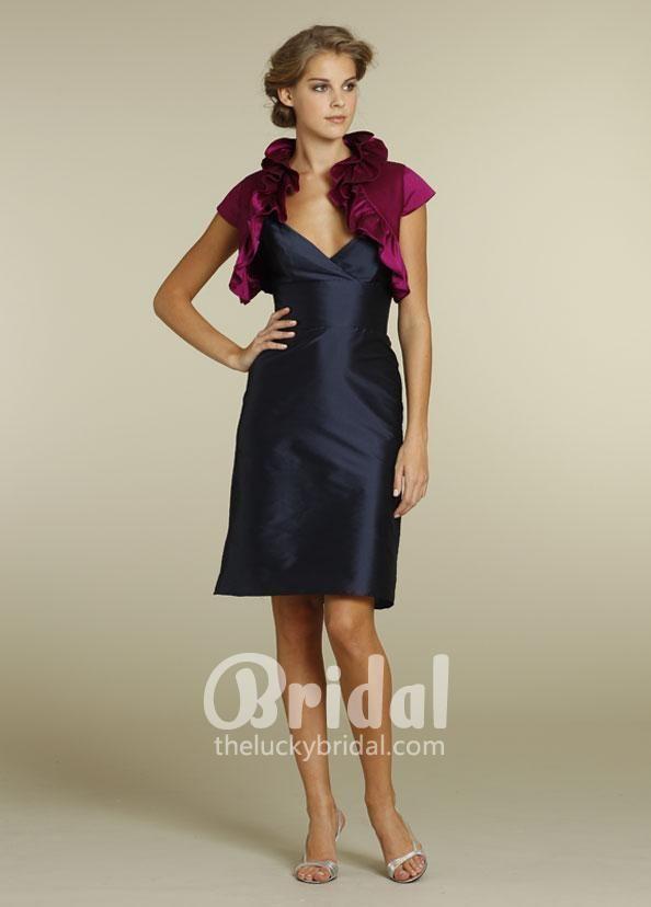 midnight taffeta short v-neck knee length womens evening dress ...
