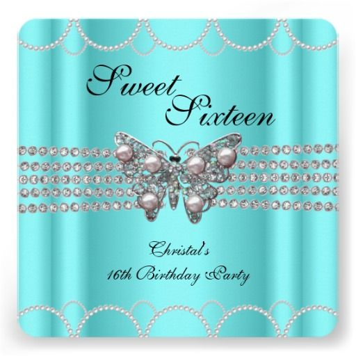 SWEET 16 Teal Blue Butterfly Pearl Birthday party Custom Announcements by Zizzago.com