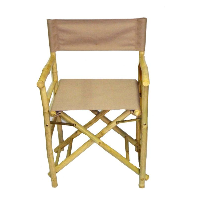 Outdoor Bamboo54 Folding Bamboo Low Directors Chair With Canvas Cover Set Of 2 Beige