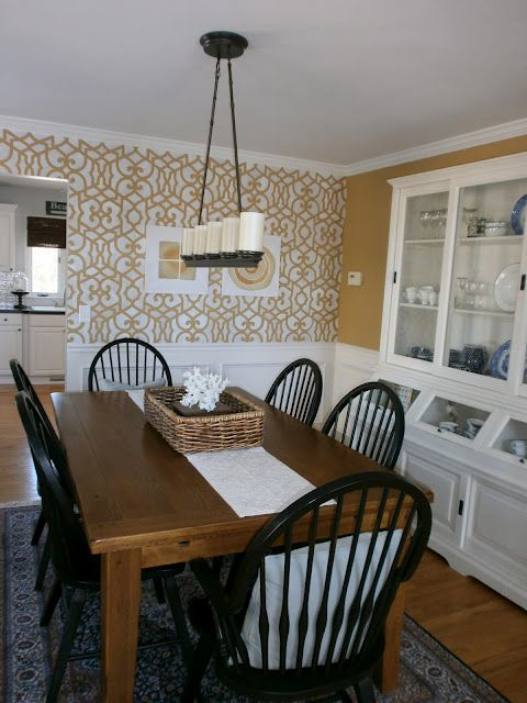 Farmhouse Table + Black Chairs + Modern Chandelier + Wallpaper U003d Gussied Up Casual  Dining.