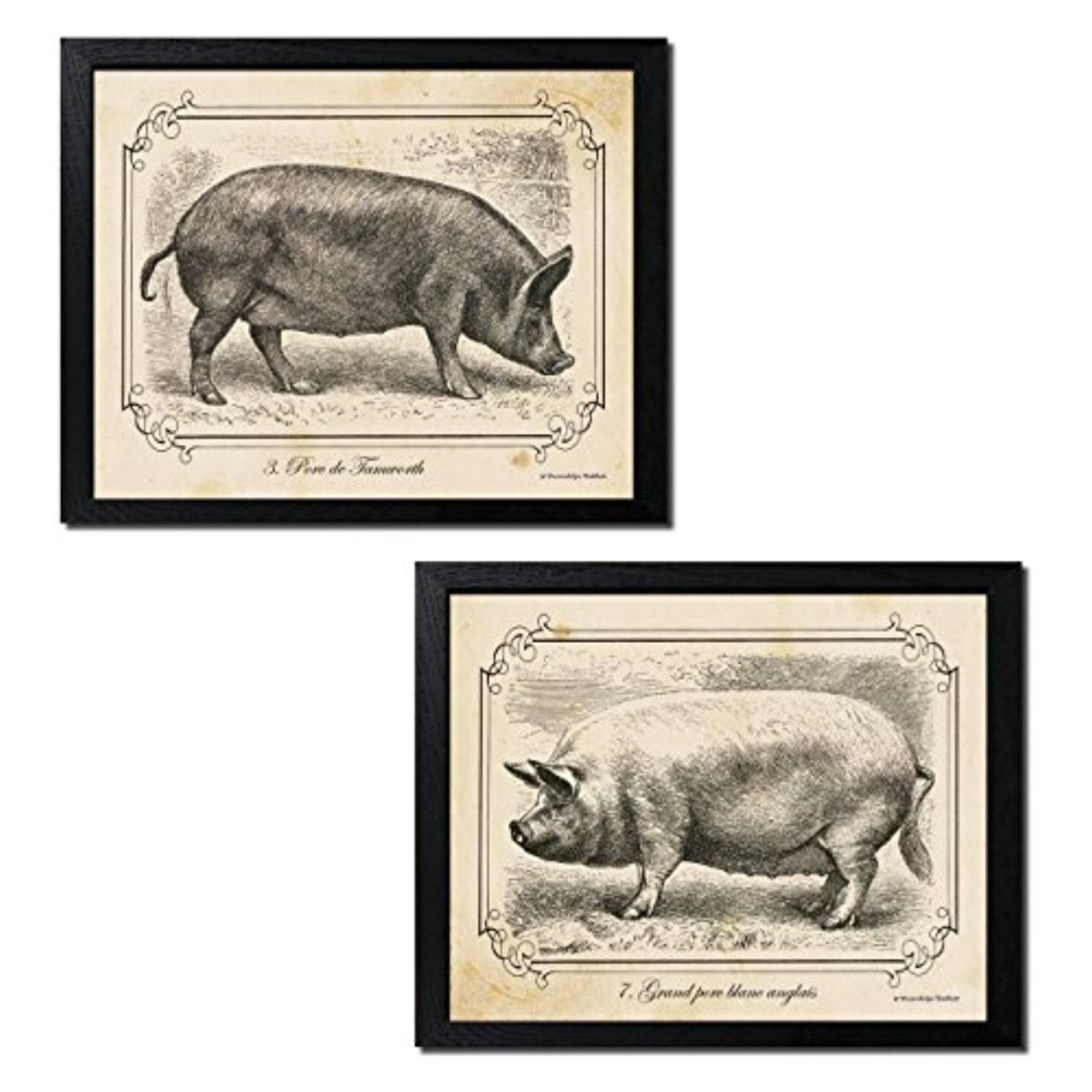 2 Black and White Pig Drawings Grayscale Vintage Farm Animals ...