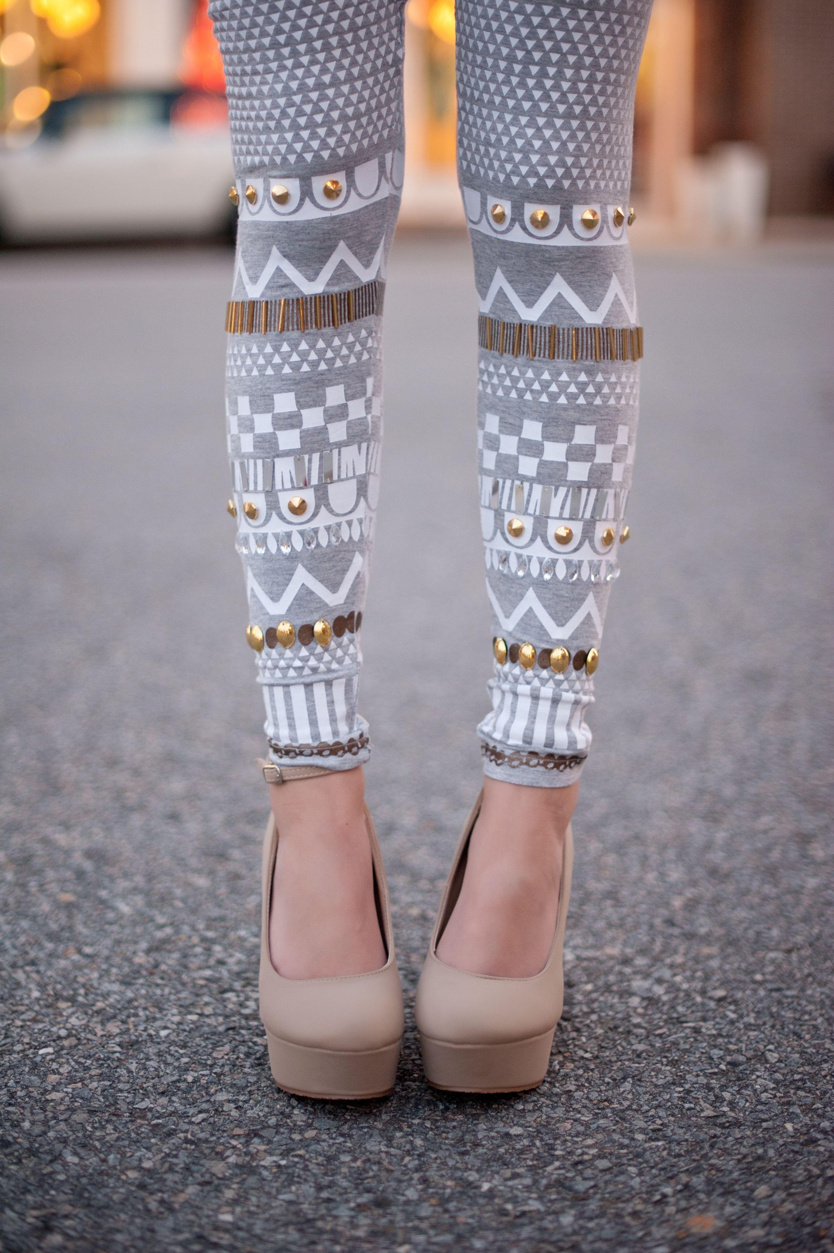 White Beaded Leggings