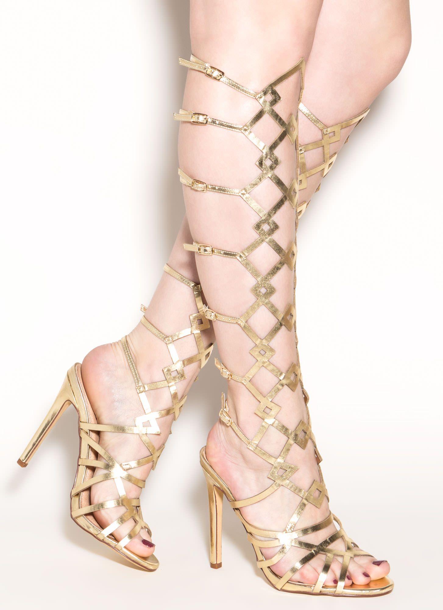 855b0774de0 Art Walk Metallic Gladiator Heels GOLD