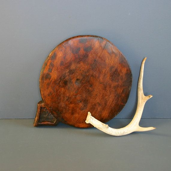 Vintage Wooden Platter from India  - Rustic Hand Carved - Chapati Board - Fanshawe Blaine