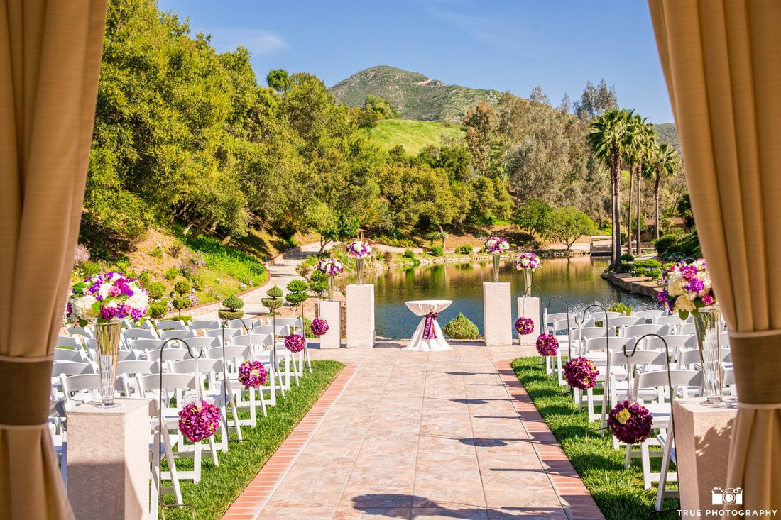 Beach wedding venues in san diego  Los Willows Lake View of purple and lavender flowers  Los Willows