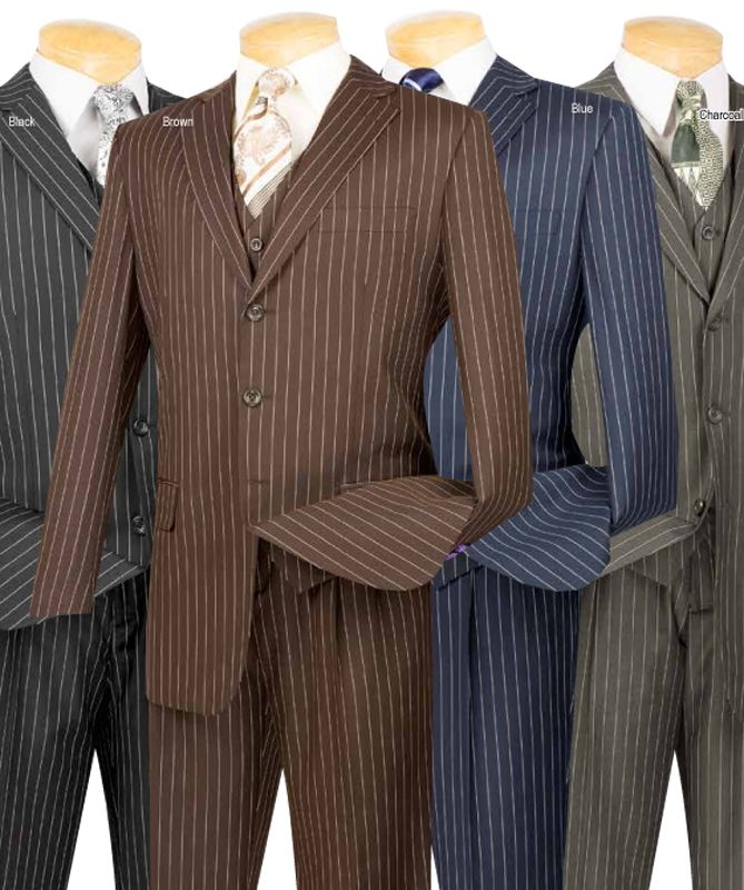 Men/'s Pinstripe Classic Fit Suit 3 Piece 3 Button Shadow Notch Lapel Gangster