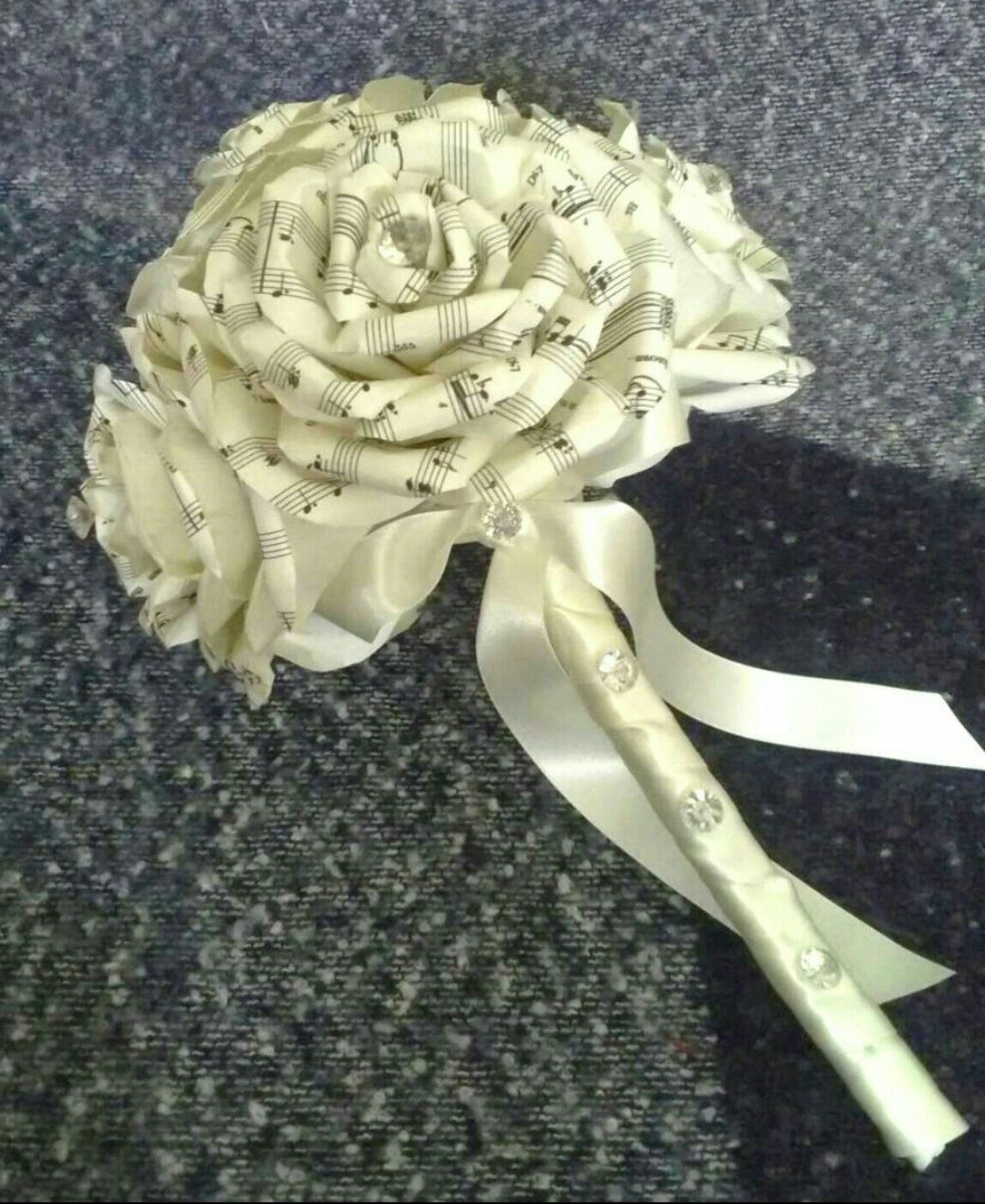 Song Sheet Music Roses Bridal Bouquet Ivory Paper Flowers Paper