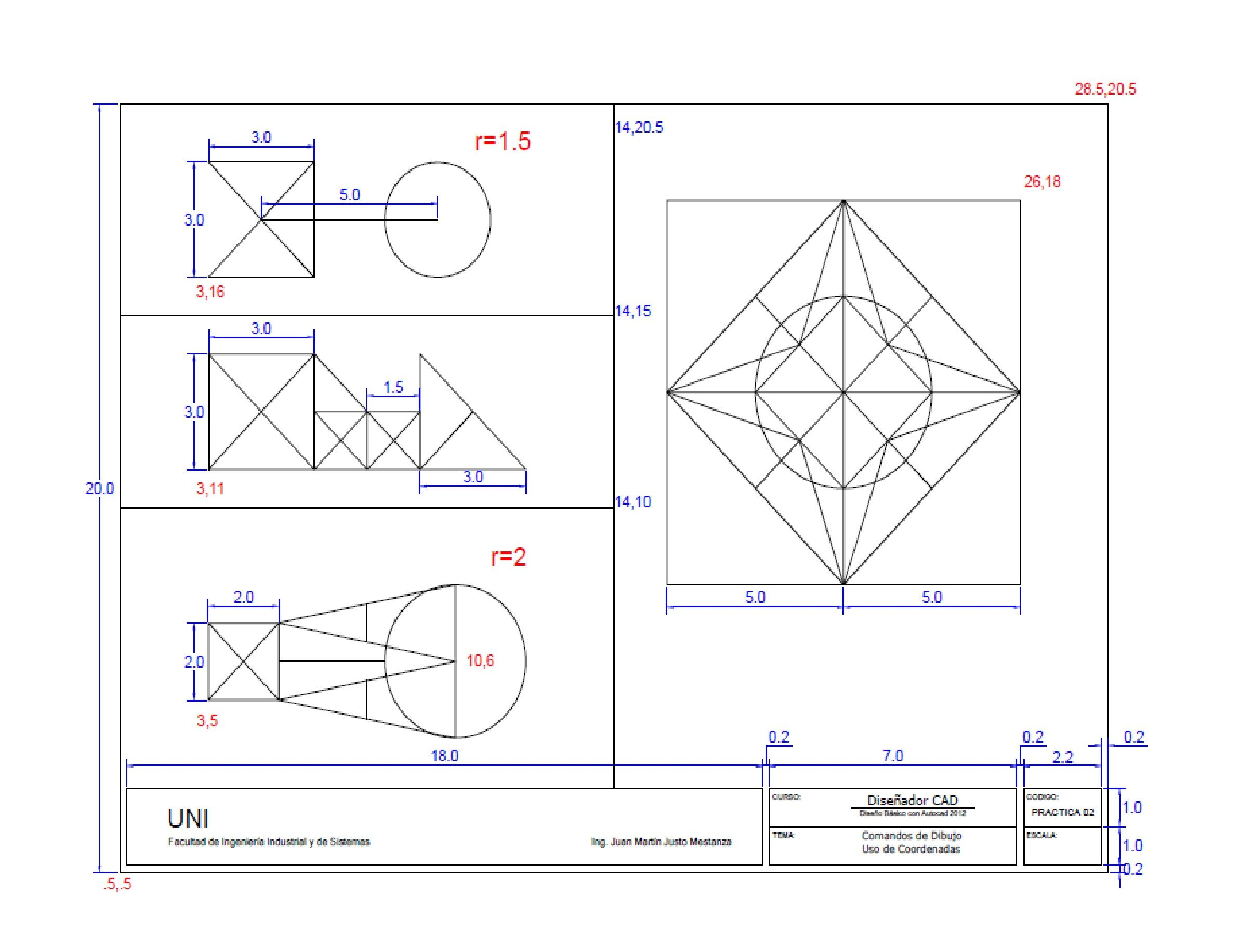 Practica 02 Autocad Pattern Drawing Interesting Drawings