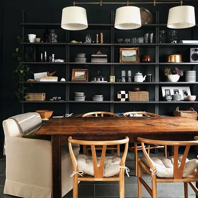 who else has turned their dining room into their desk this week? with all the working from home that's about to go down, this space is likely getting some extra love from a lot of you right now!! 🖤 I'm digging @grace_start's dark walls and cozy end-chair in the #ckstyleaccordingly feed as some good inspo!! planning on making some updates to mine this week! . #darkwalls #diningroominspo #diningroomdesign #sodomino #myOKLstyle #homewithrue #finditstyleit #moreismoredecor #societyofdesign #...