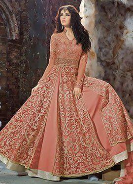 Deep Peach Net Layered Anarkali Suit